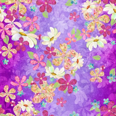 f841e609b 3 Wishes In the Meadow - Digital by Connie Haley 14488 Purple Flowers   11.70 yd