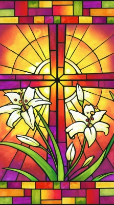 297942a69d5f Northcott Rejoice by Janet Stever 22142 24 Panel Stained Glass Cross  Oranges  7.95 each