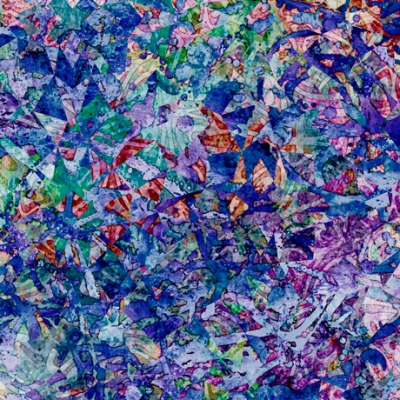 PRIMTEMPS 100/% COTTON FABRIC LEAVES IN PURPLE AND BLUE FROM FABRI-QUILT