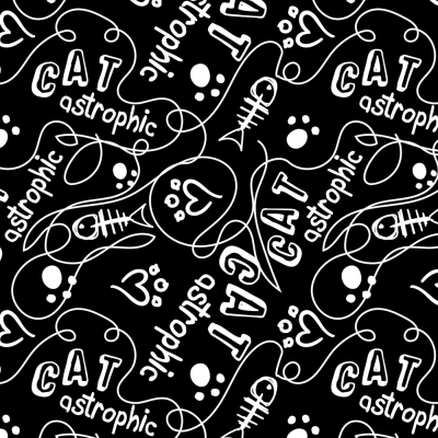 bf39db59633 Camelot Fabrics Cats Rule by Rachael Hale 34170107 2 Black Catastrophic  $10.20/yd PREORDER DUE APRIL/MAY '19