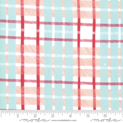 62b060d58 Moda To Be Jolly by One Canoe Two 36046 12 Aqua/Red Plaid $10.60/yd