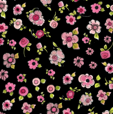 Loralie Designs Love Your Look Salon Mini Hearts Black Fabric by The Yard