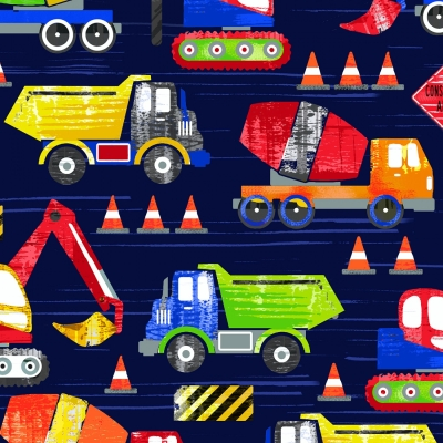 Timeless Treasures YARD Antique Tractor Truck Toss on Gray Farm Fabric