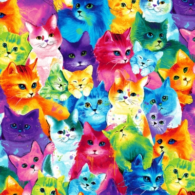 100/% Cotton Fabric Timeless Treasures Real Cool Cartoon Cats Kittens Scattered