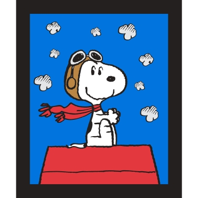 Snoopy Camp Peanut ROYAL Blue CHARACTER TOSS 100/% cotton fabric by the yard
