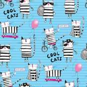 ee369745d743 3 Wishes Cool Cat Club 16018 Blue Cool Cat Club $7.50/yd PREORDER DUE  JAN/FEB '20